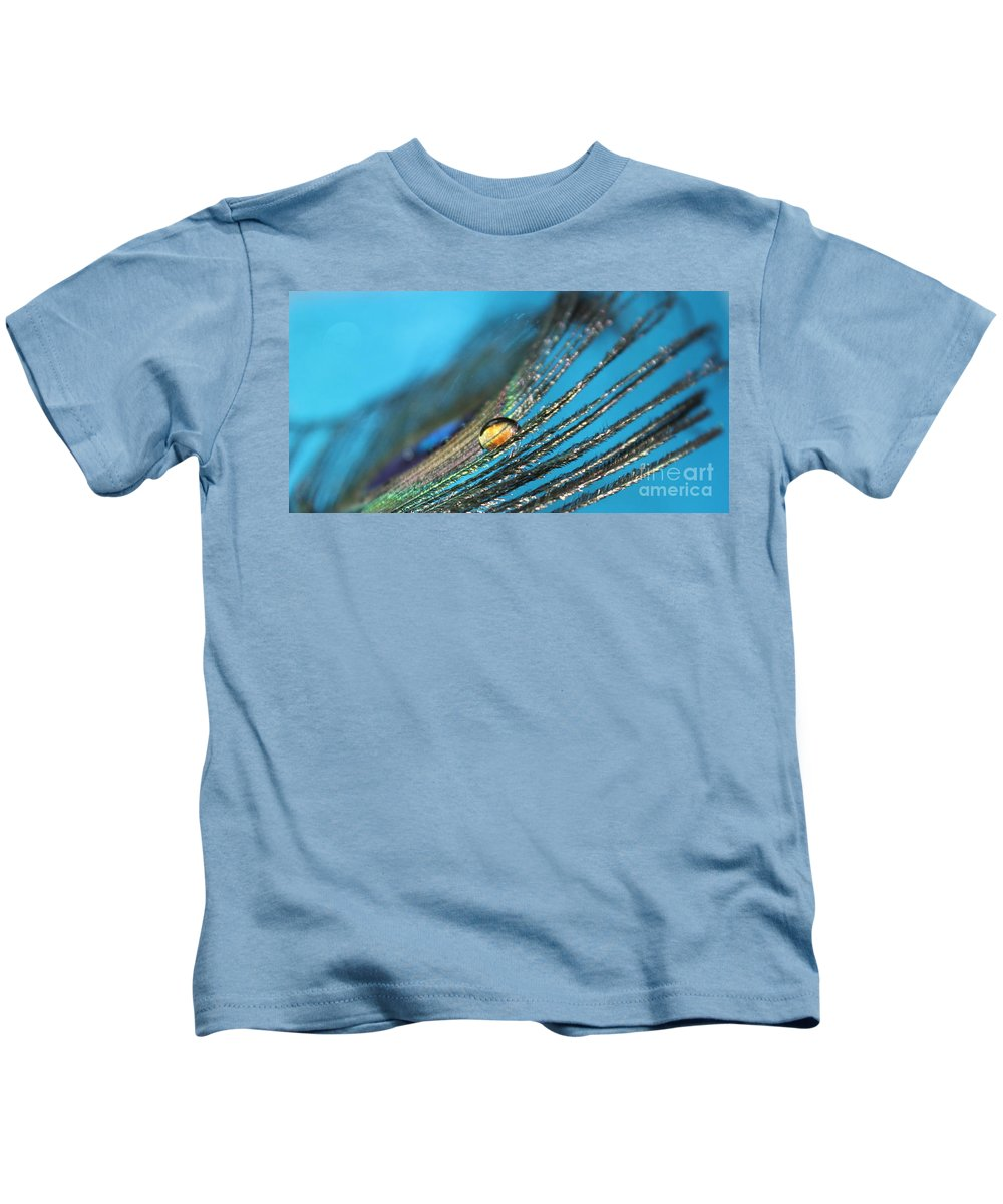 Peacock Kids T-Shirt featuring the photograph Peacock Gold by Krissy Katsimbras