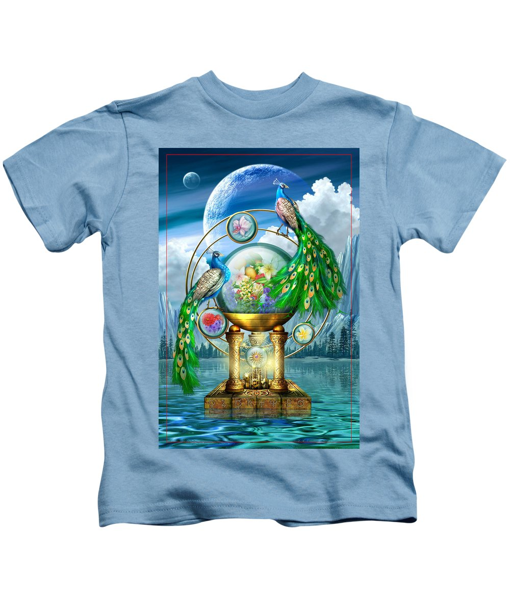Peacocks Kids T-Shirt featuring the digital art Peacocks Lagoon by Ciro Marchetti