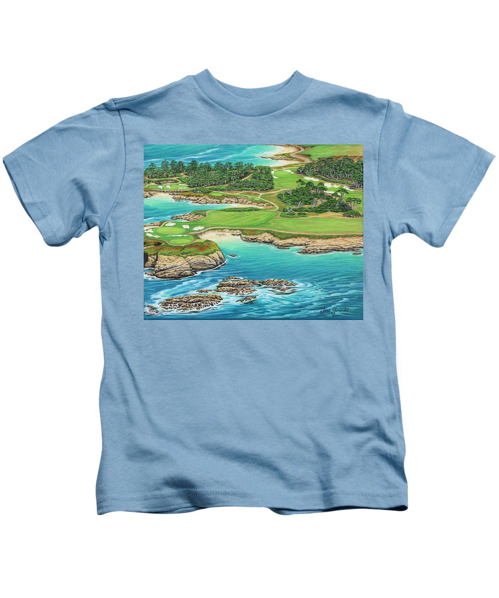 Ocean Kids T-Shirt featuring the painting Pebble Beach 15th Hole-south by Jane Girardot