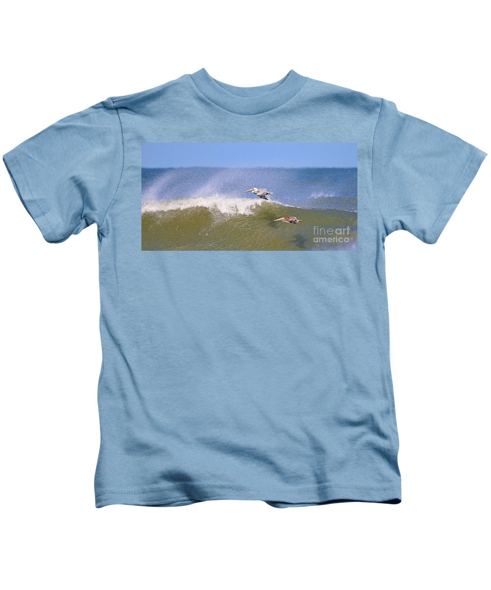 Pelicans Kids T-Shirt featuring the photograph Pelicans 3868 by Jack Schultz