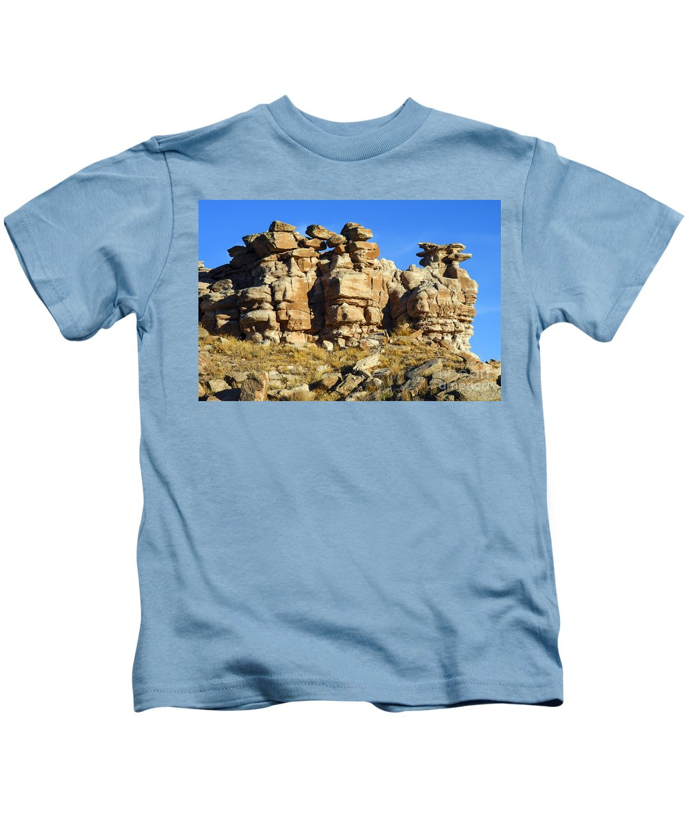 Petrified Forrest National Park Arizona Parks Rock Formation Stone Formations Sandstone Desert Deserts Desertscape Desertscapes Landscape Landscapes Kids T-Shirt featuring the photograph Petrified Forest Rock Formations by Bob Phillips