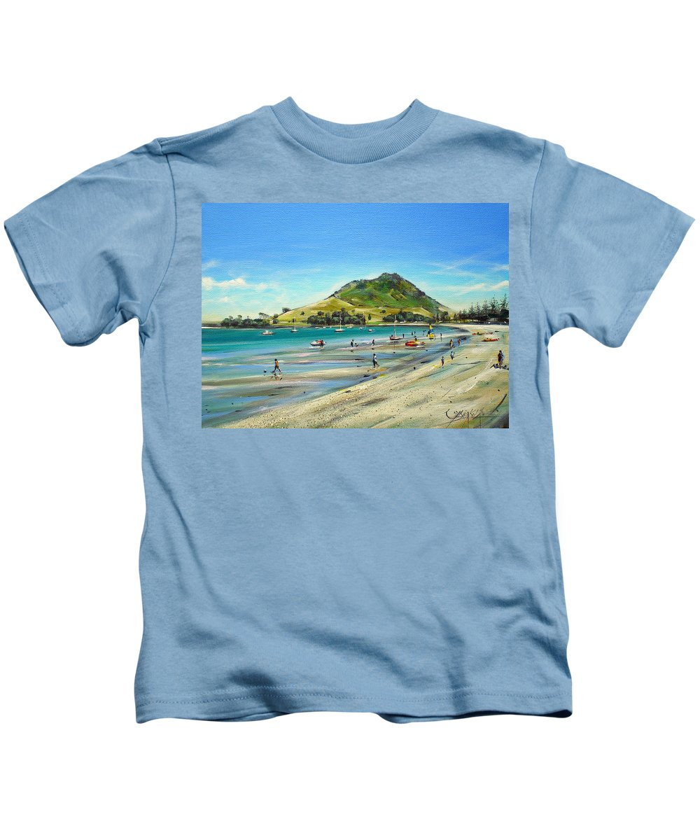 Beach Kids T-Shirt featuring the painting Pilot Bay Mt M 050110 by Sylvia Kula
