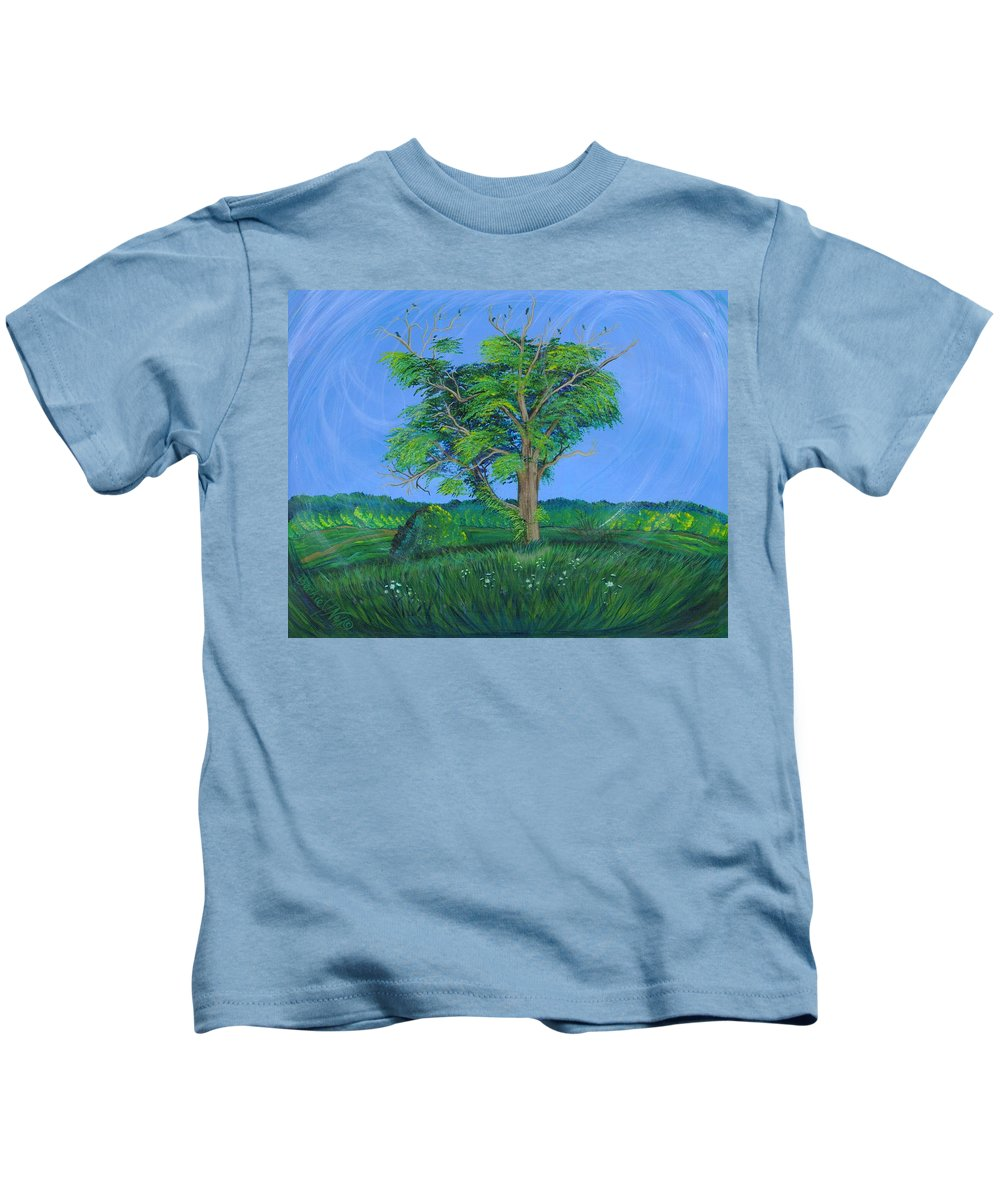 Tree Kids T-Shirt featuring the painting Pleasant Township Tree by Beckie J Neff