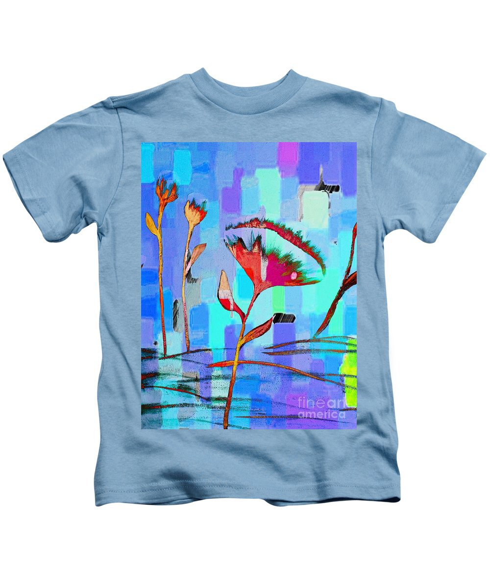 Poppies On Blue 2 Kids T-Shirt featuring the painting Poppies On Blue 2 by Barbara Griffin