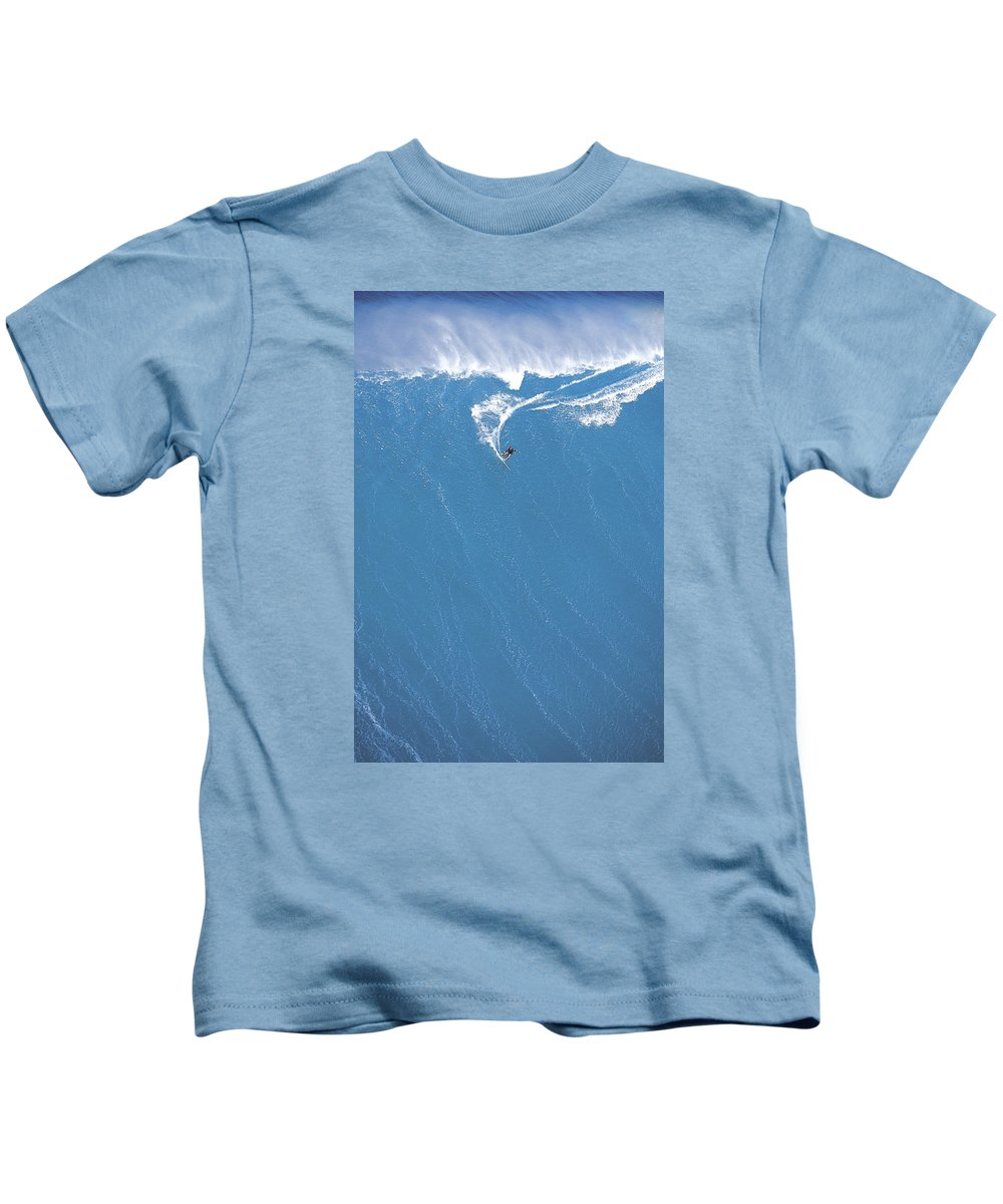 Surf Big Wave Kids T-Shirt featuring the photograph Power Turn by Sean Davey