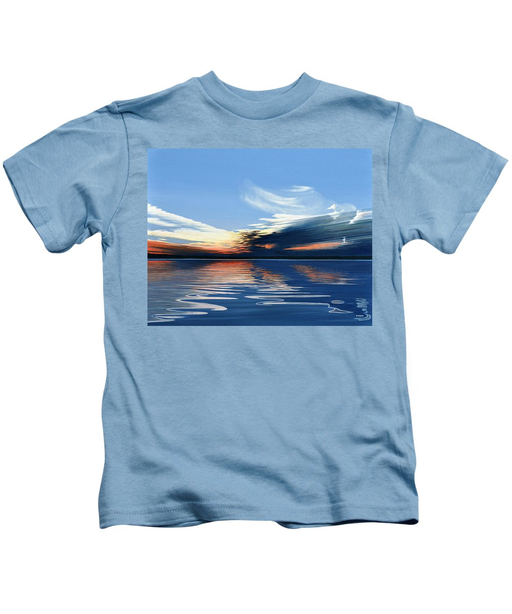 Landscape Kids T-Shirt featuring the painting Quiet Reflections by Kenneth M Kirsch