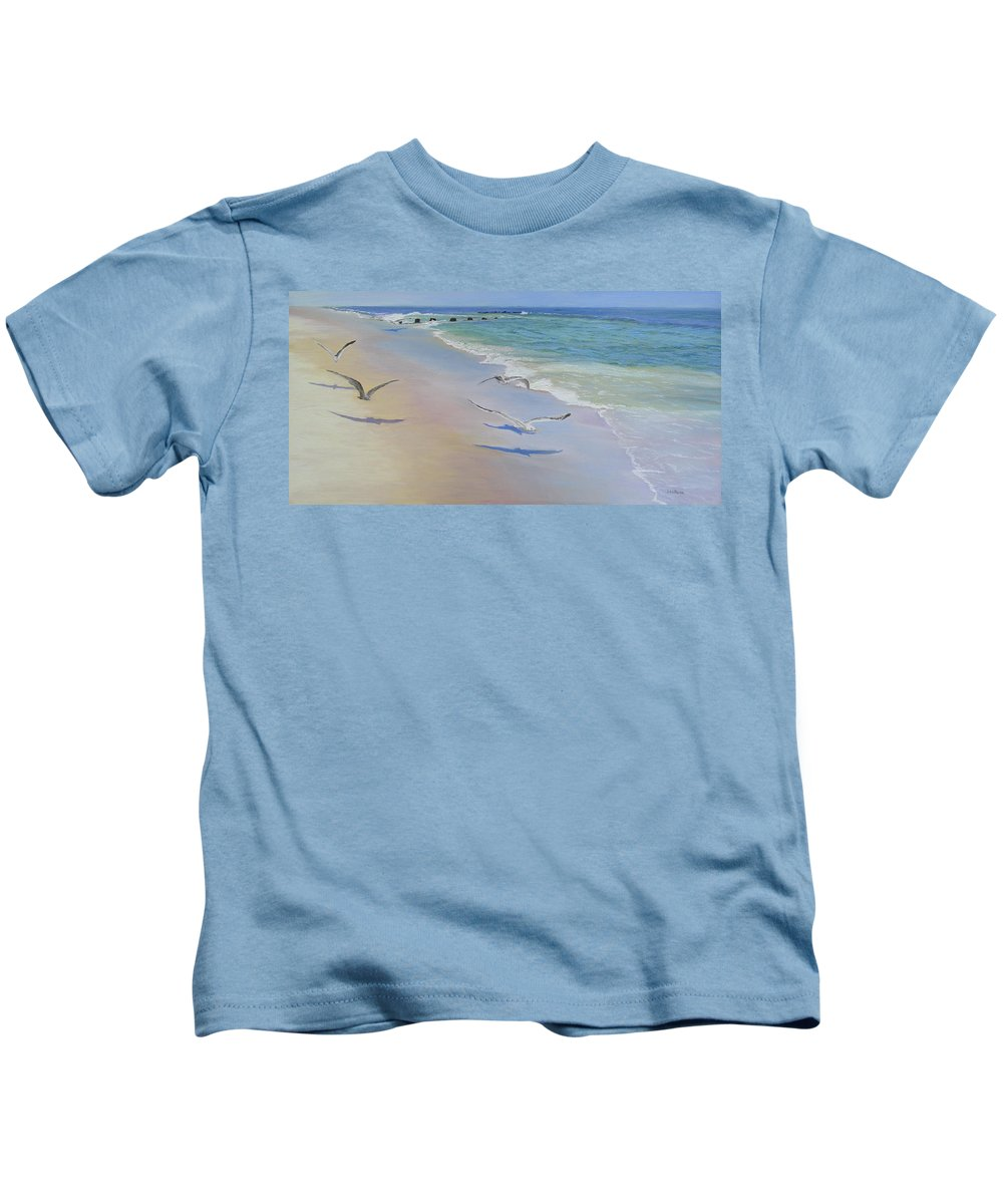 Seascape Kids T-Shirt featuring the painting Racing Seagulls by Lea Novak