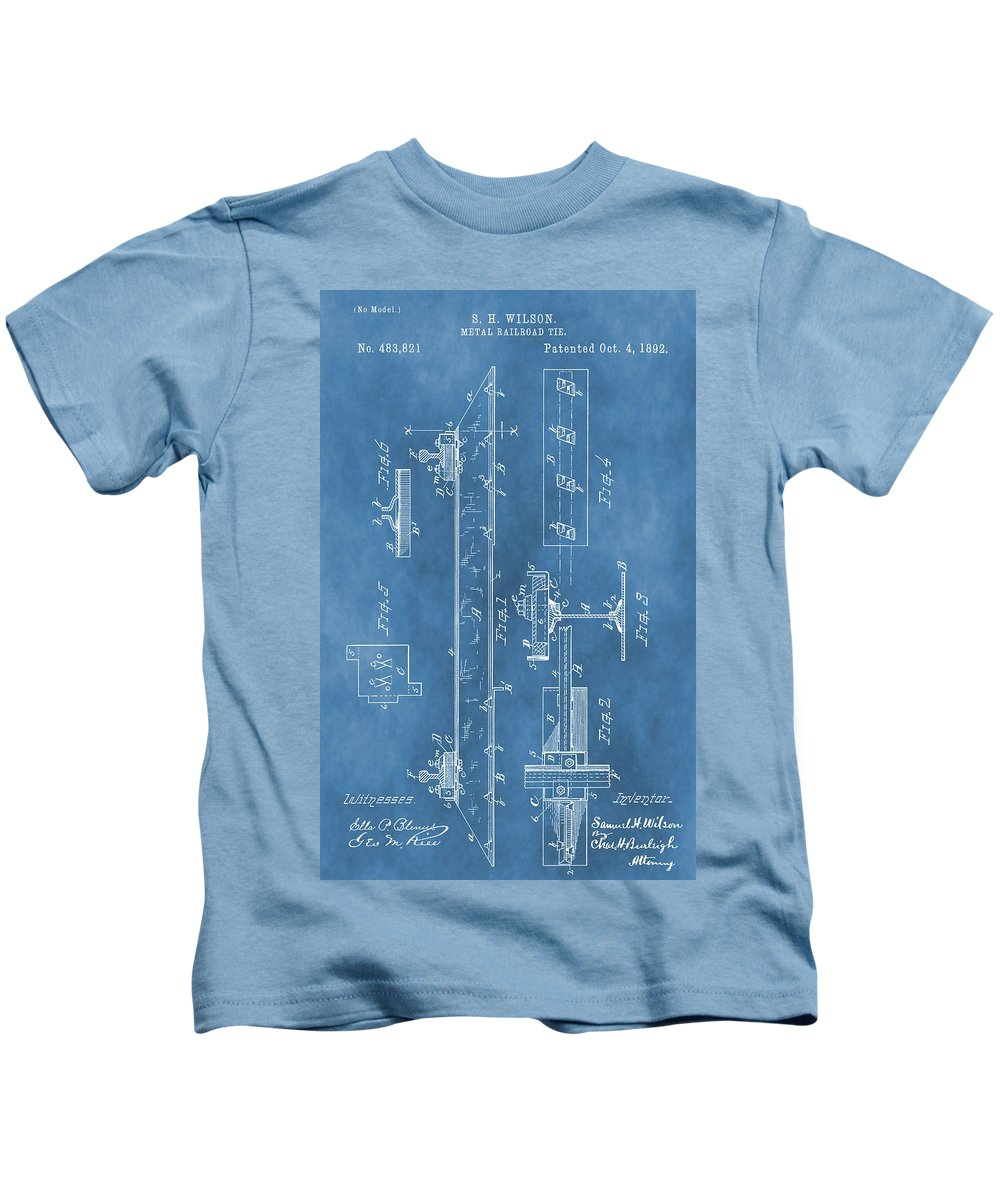 Antique Railroad Tie Patent Kids T-Shirt featuring the digital art Railroad Tie Patent On Blue by Dan Sproul