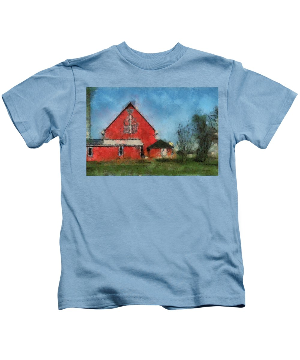 Red Barn Kids T-Shirt featuring the photograph Red Barn Rear View Photo Art 03 by Thomas Woolworth