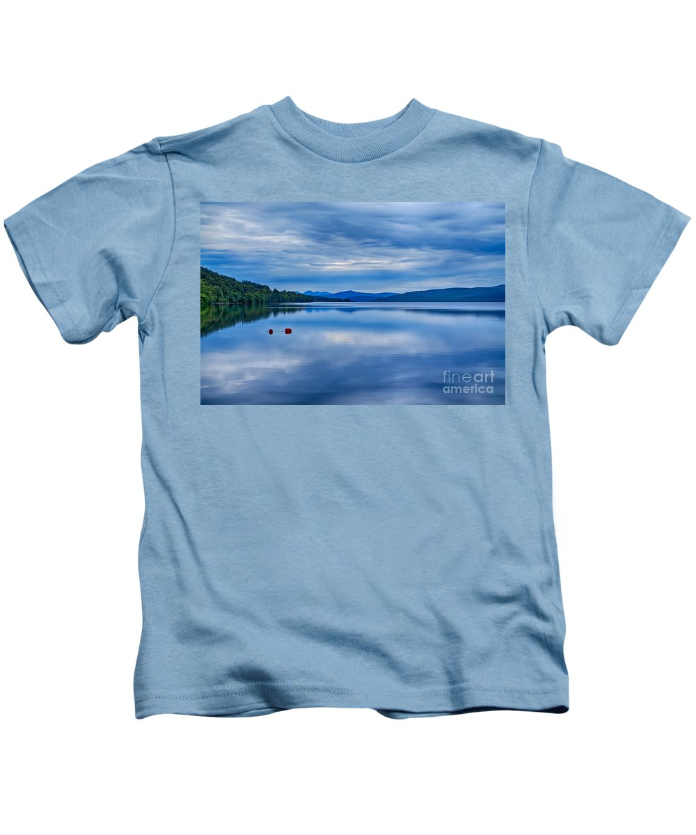 Loch Rannoch Canvas Kids T-Shirt featuring the photograph Red Buoys On Loch Rannoch by Chris Thaxter