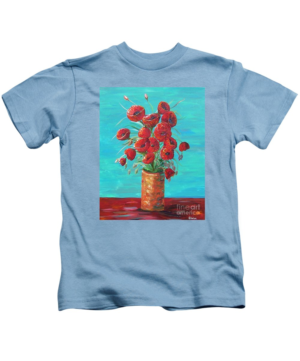 Poppy Kids T-Shirt featuring the painting Red On My Table by Eloise Schneider Mote