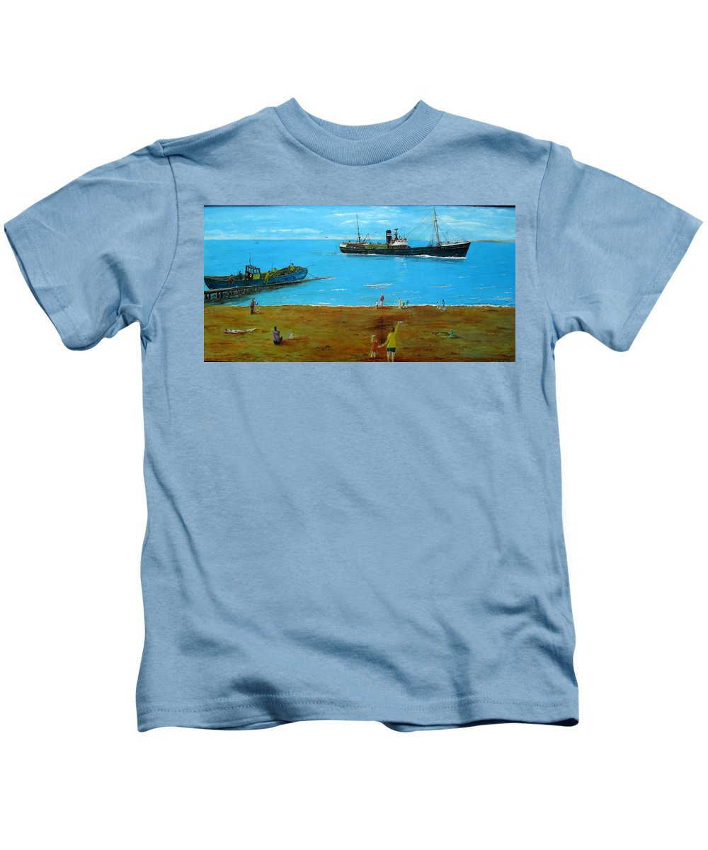 The ( Wyre Mariner)  Kids T-Shirt featuring the painting Returning Fishing Trawler by Errol Jameson