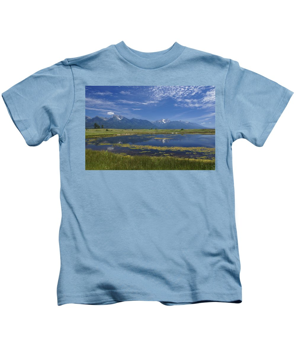 Eco Tourism Kids T-Shirt featuring the photograph Rocky Mountain Lake by Brian Kamprath