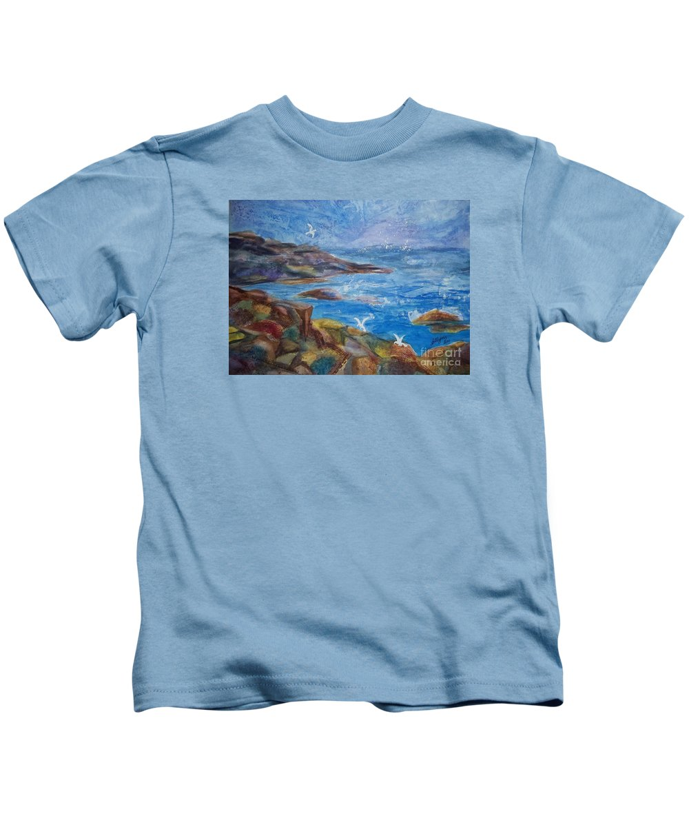 Maine Coast Kids T-Shirt featuring the painting Rocky Shores Of Maine by Ellen Levinson