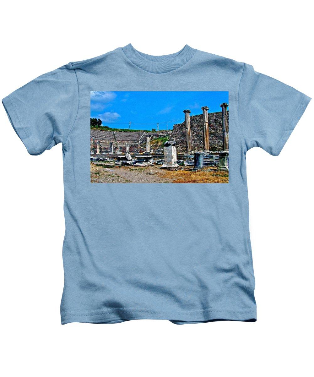 Roman Theatre In Pergamum Kids T-Shirt featuring the photograph Roman Theatre In Pergamum-turkey by Ruth Hager