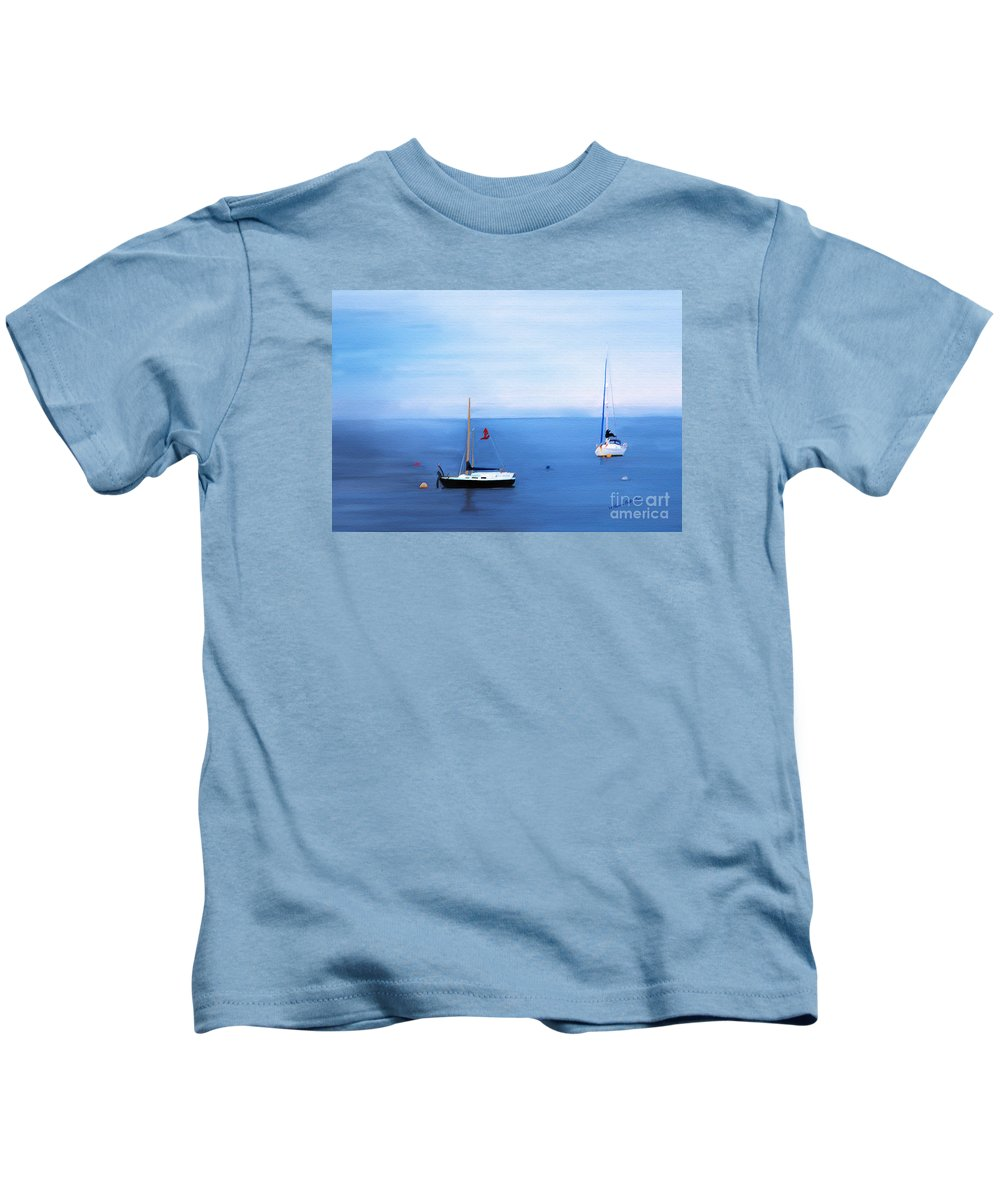Fine Art Kids T-Shirt featuring the mixed media Sailboats in Skerries Harbor- mixed media photography by Patricia Griffin Brett