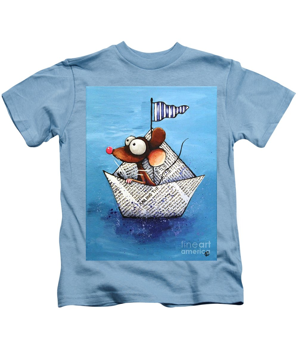Lucia Stewart Kids T-Shirt featuring the painting Sailing The Seven Seas by Lucia Stewart
