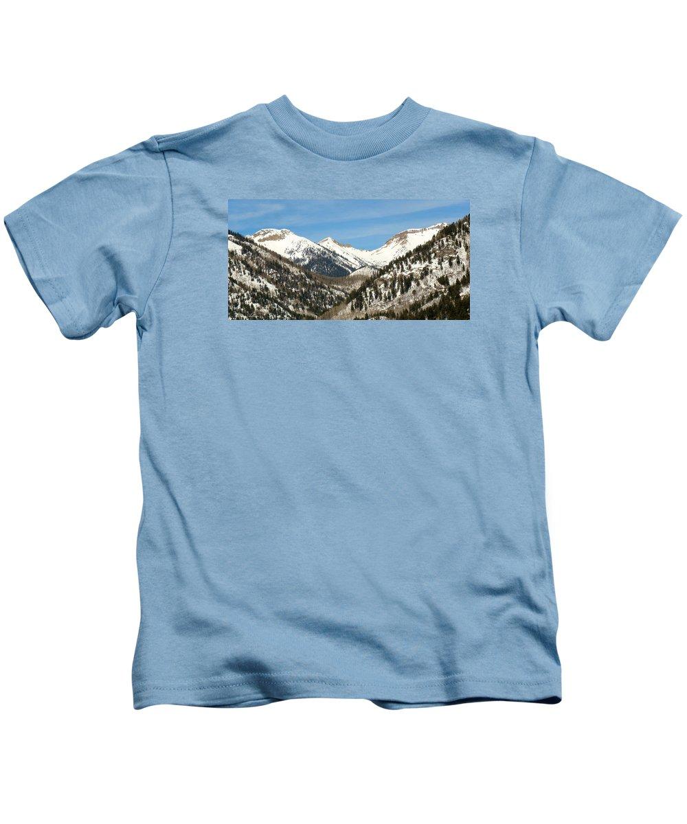 San Juan Mountains Kids T-Shirt featuring the photograph San Juan Mountains No. 3 by Annie Adkins