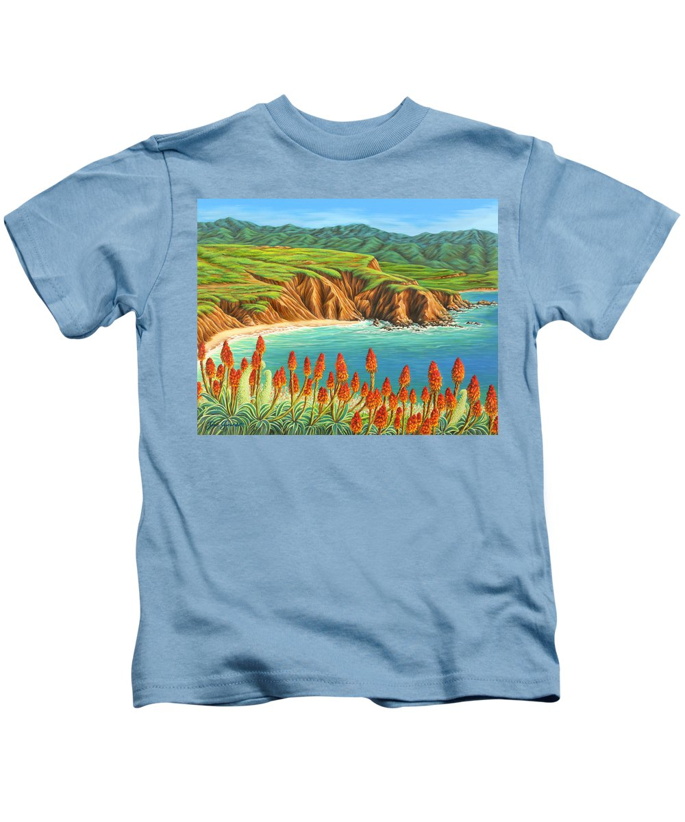 Ocean Kids T-Shirt featuring the painting San Mateo Springtime by Jane Girardot