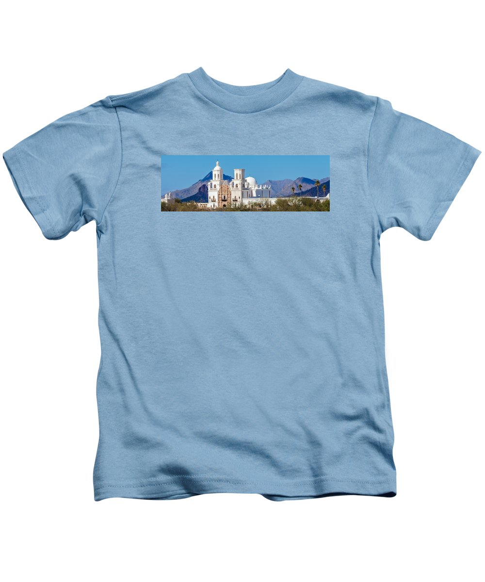 San Xavier Kids T-Shirt featuring the photograph San Xavier Del Bac Mission by Ed Gleichman