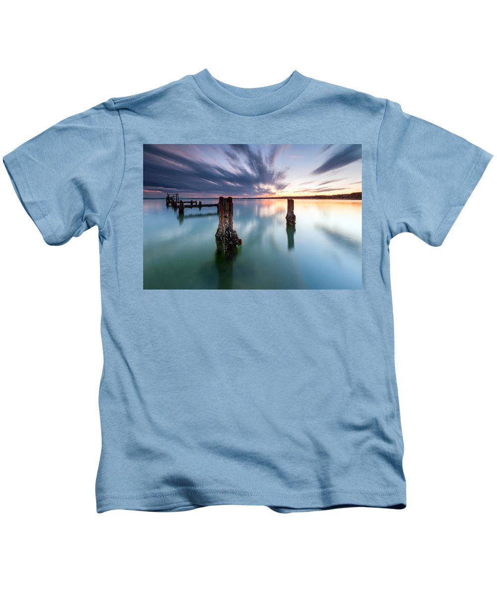 Black Sea Kids T-Shirt featuring the photograph Sea Like A Glass by Evgeni Dinev
