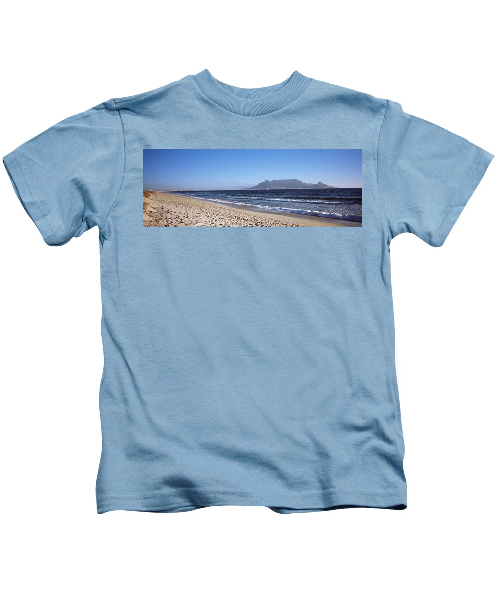 Photography Kids T-Shirt featuring the photograph Sea With Table Mountain by Panoramic Images