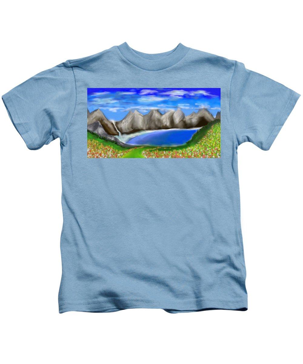 Secret Paradise Kids T-Shirt featuring the painting Secret Paradise by Sotiris Filippou