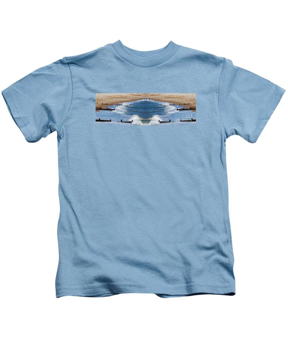 Selsey Kids T-Shirt featuring the digital art Selsey Mirrored by Wendy Wilton