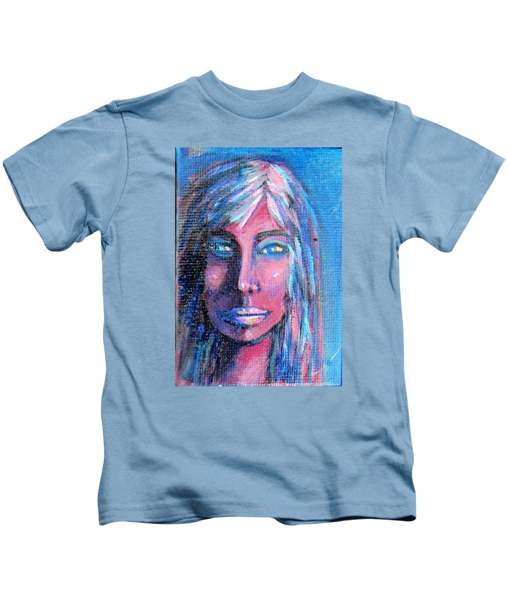 Portrait Kids T-Shirt featuring the painting Shadow Woman by Laurie Morgan