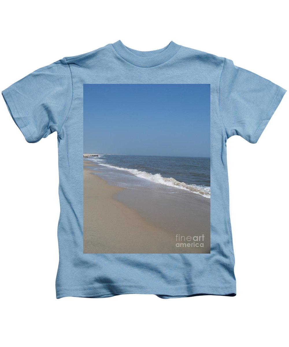 Jersey Shore Kids T-Shirt featuring the photograph Shoreline At Cape May by Eric Schiabor