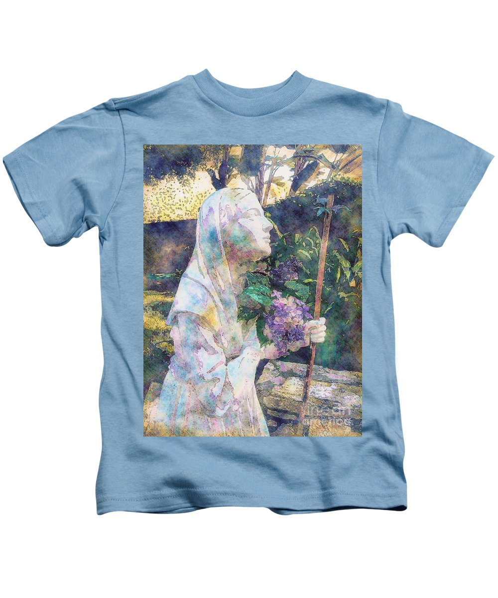 Saint Kids T-Shirt featuring the photograph Simple Faith by Davy Cheng