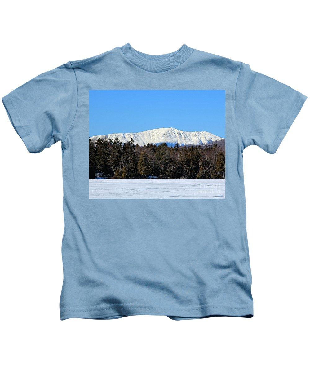 Mount Katahdin Kids T-Shirt featuring the photograph Smith Pond Katahdin View by Joseph Marquis