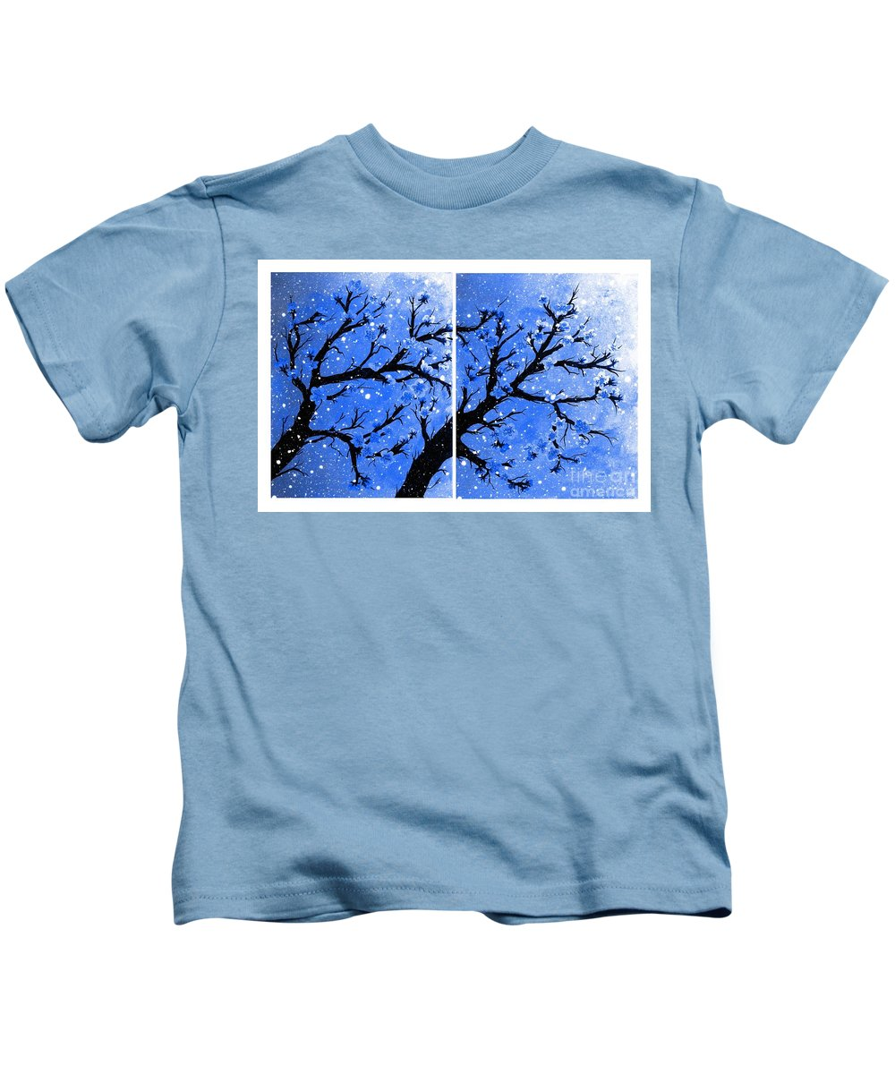 Snow On The Blue Cherry Blossom Tree Kids T-Shirt featuring the painting Snow On The Blue Cherry Blossom Tree by Barbara Griffin