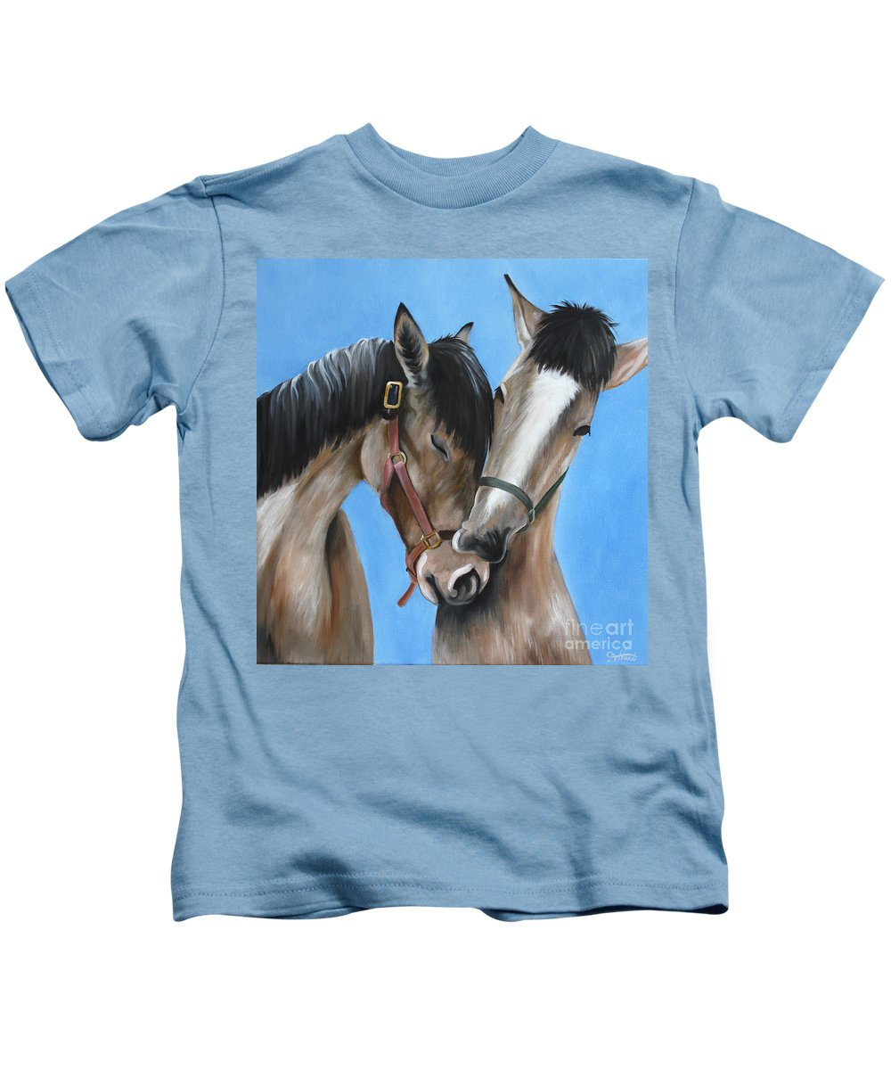 Kids T-Shirt featuring the painting Snuggling Siblings by Debbie Hart