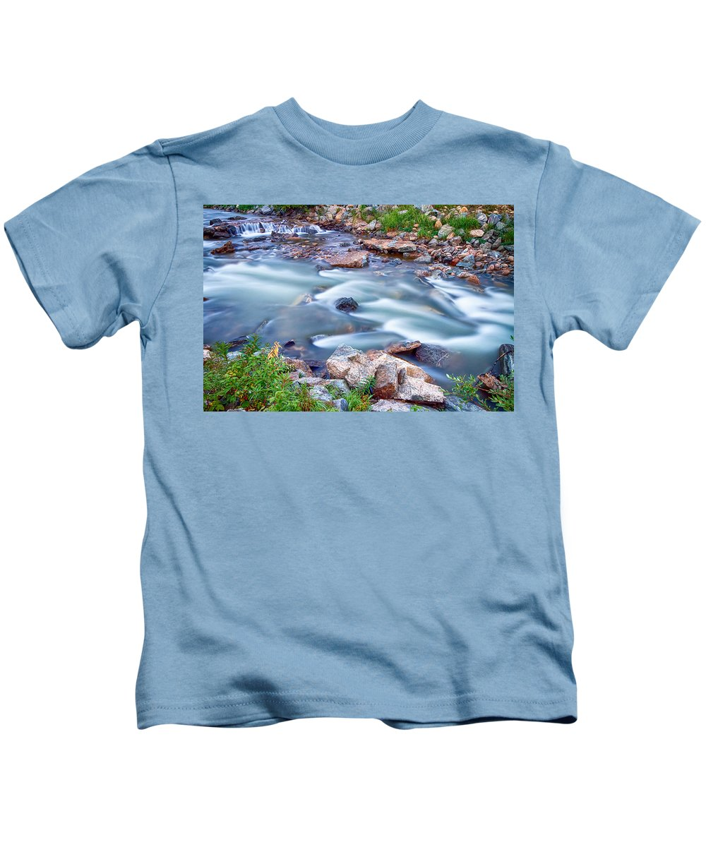 Creek Kids T-Shirt featuring the photograph South Boulder Creek Little Waterfalls Rollinsville by James BO Insogna