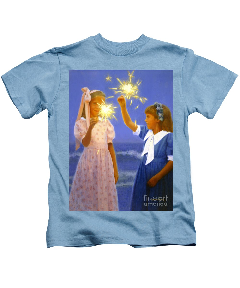 Girls Kids T-Shirt featuring the painting Sparkler Duet by Candace Lovely
