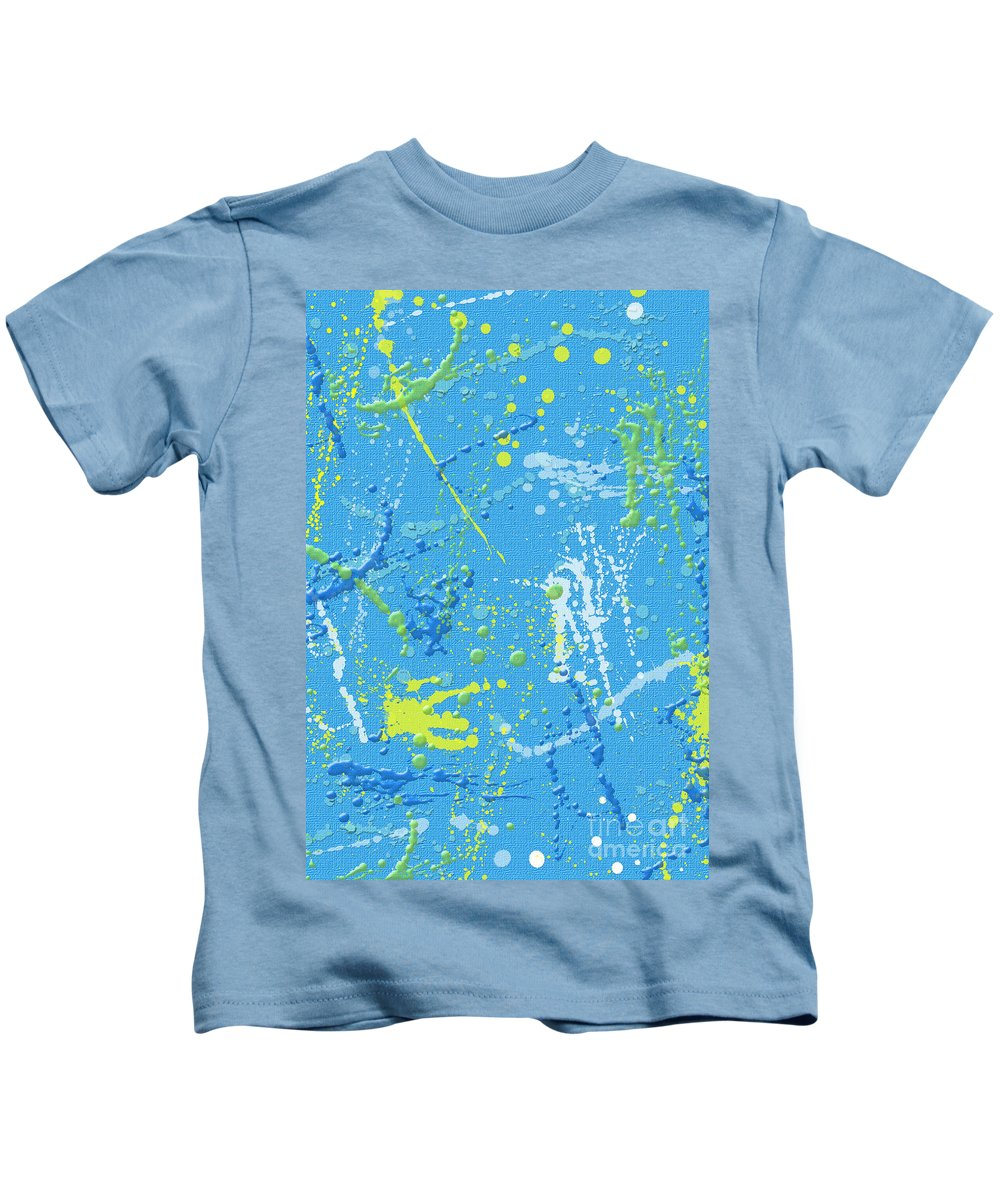 Blue Kids T-Shirt featuring the digital art Splattering by Flamingo Graphix John Ellis