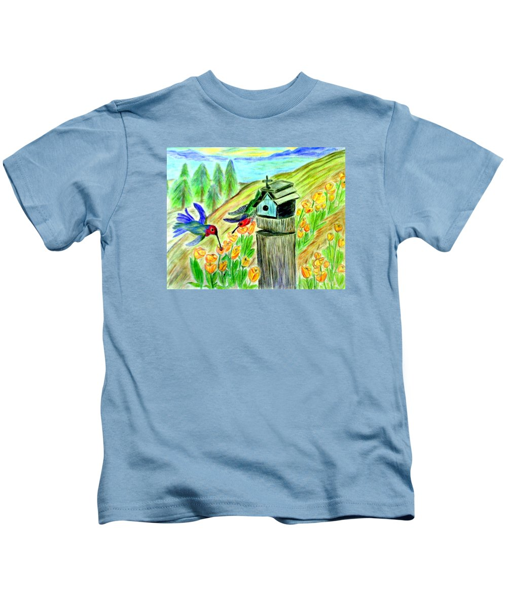 Spring Kids T-Shirt featuring the mixed media Spring Feeding by Suzanne Berthier