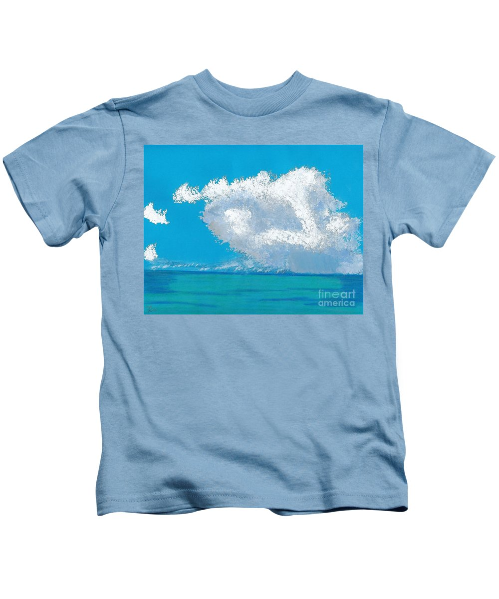 Beach Kids T-Shirt featuring the painting Storm Off The Beach by D Hackett