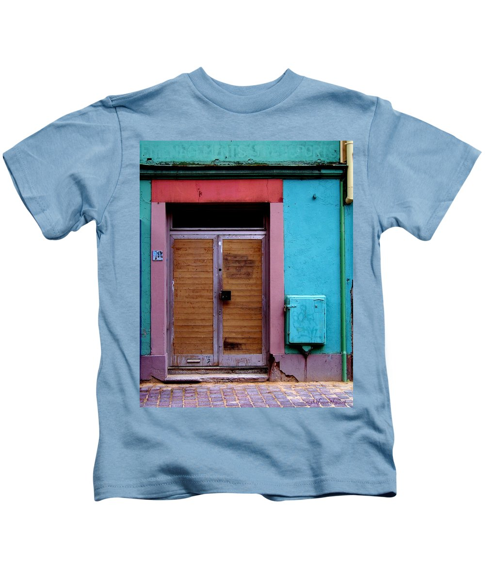 Strasbourg France Kids T-Shirt featuring the photograph Strasbourg Door by Bob and Kathy Frank