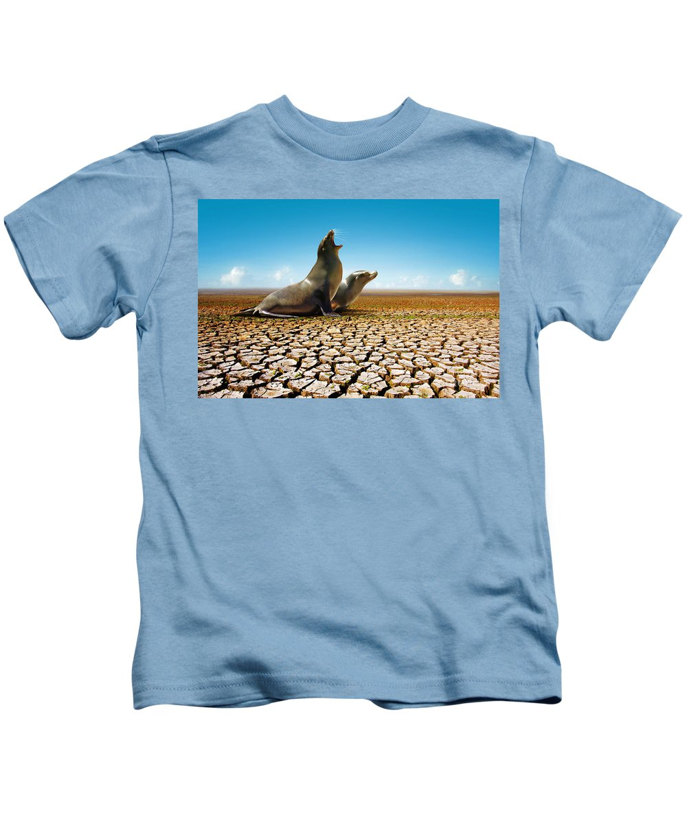 Animal Kids T-Shirt featuring the photograph Suffering Seals by Carlos Caetano