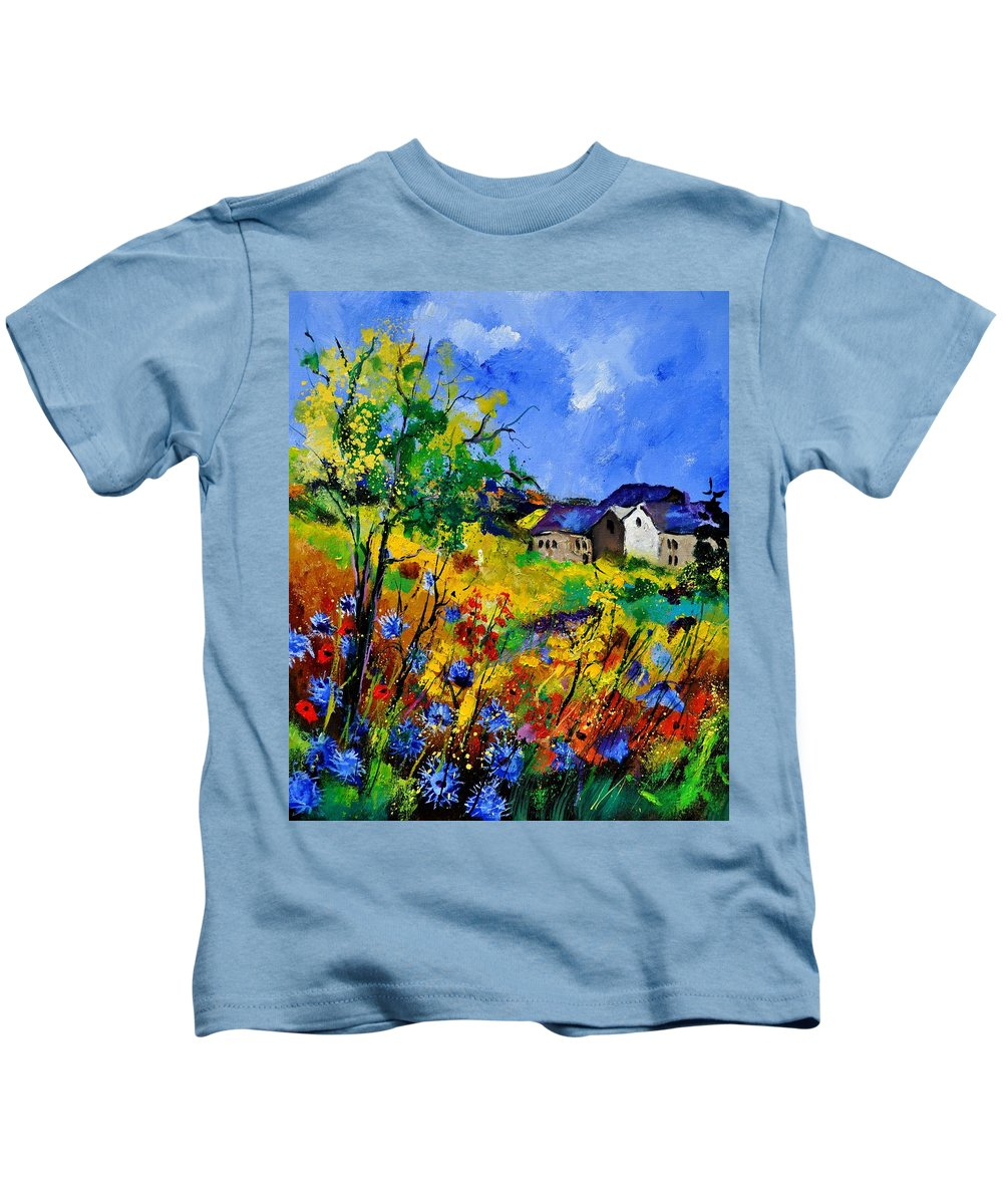 Landscape Kids T-Shirt featuring the painting Summer 673180 by Pol Ledent