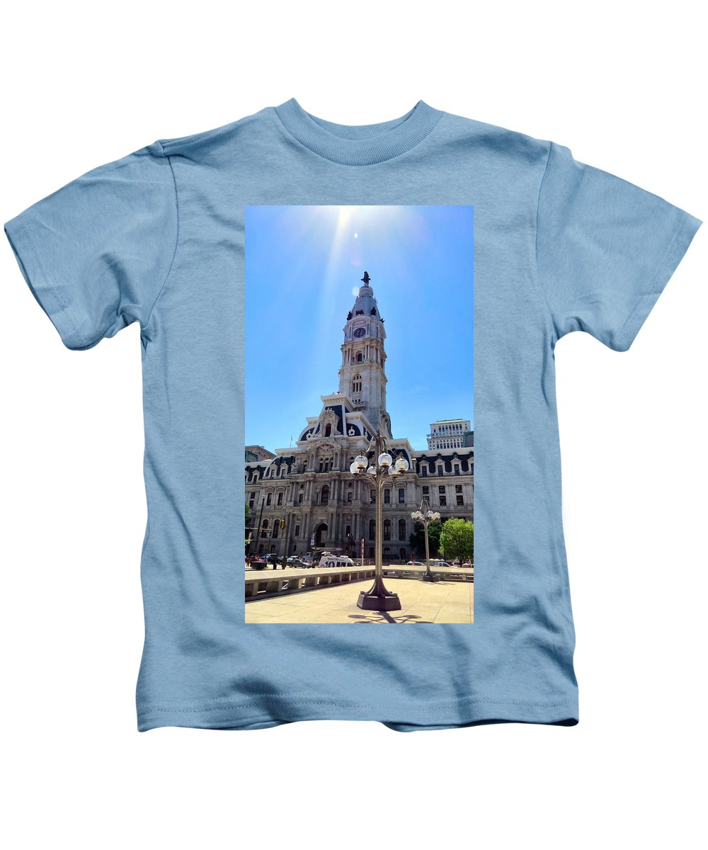 Span Kids T-Shirt featuring the photograph Sunlight City by Art Dingo