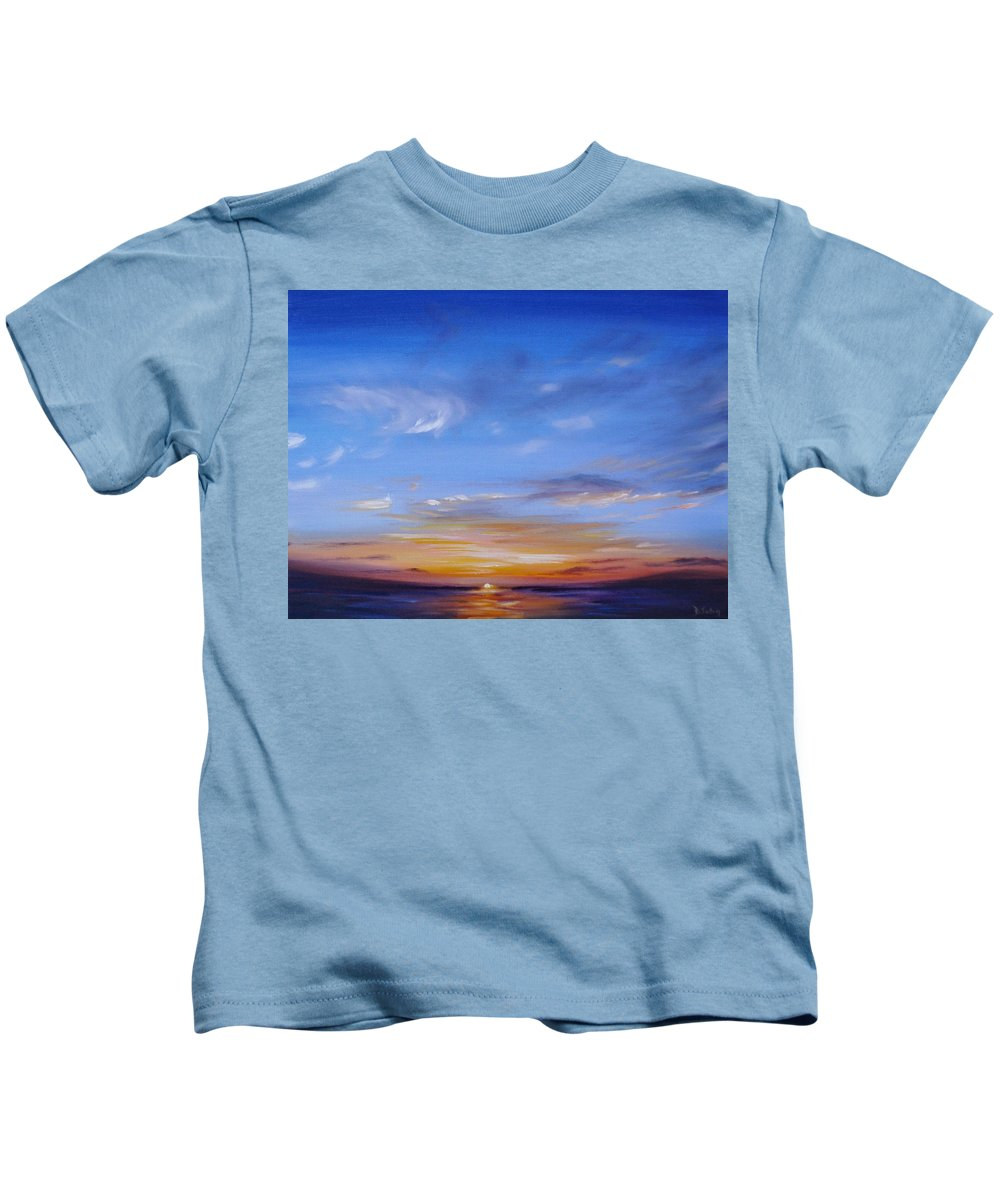 Tropical Sunset Kids T-Shirt featuring the painting Sunset In Paradise by Donna Tuten