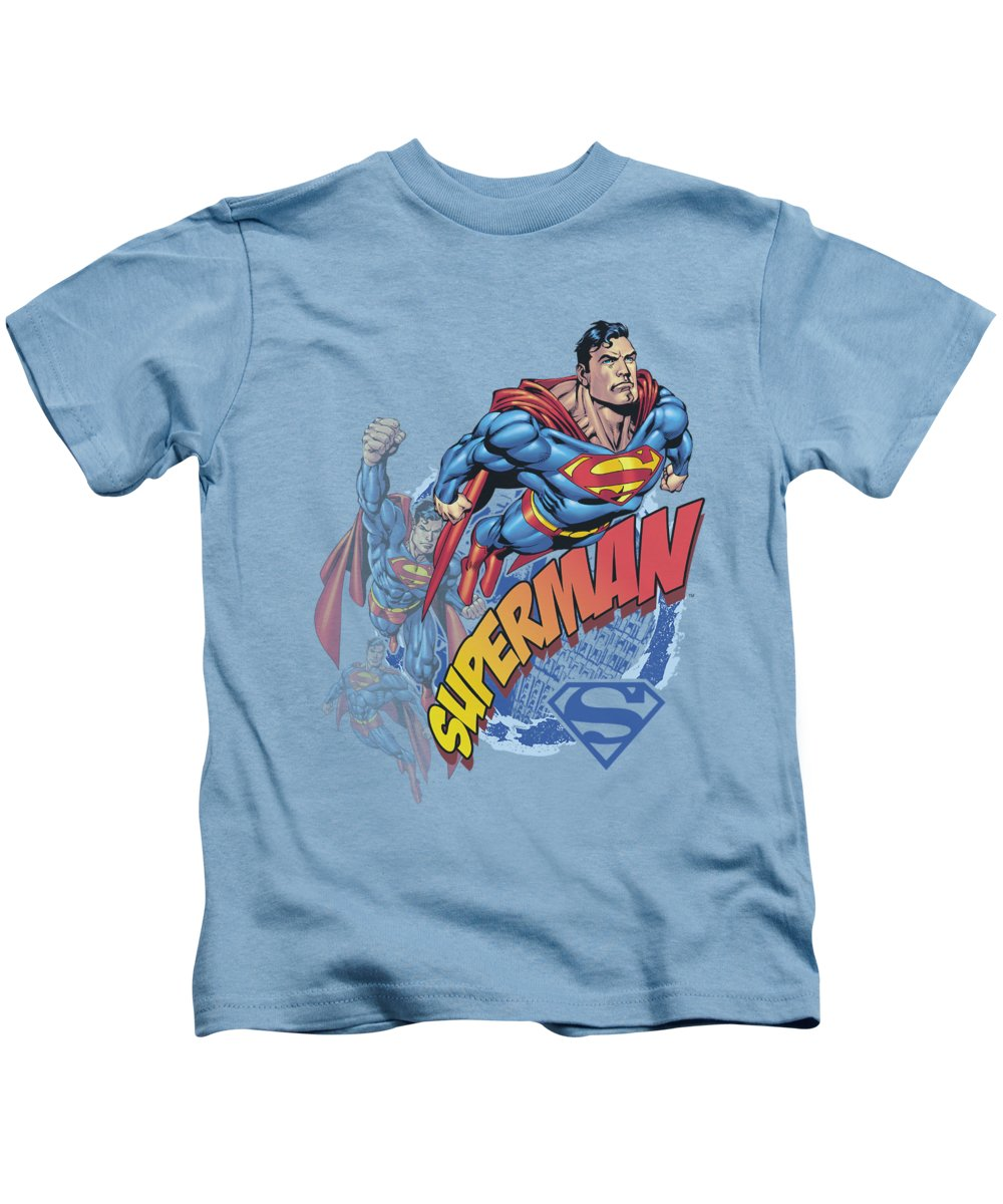 Superman Kids T-Shirt featuring the digital art Superman - Up Up And Away by Brand A