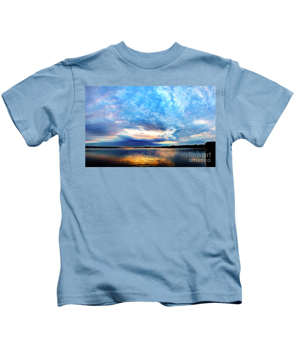Hdr Kids T-Shirt featuring the photograph Sureal Pewaukee Lake Sunrise by Andrew Slater