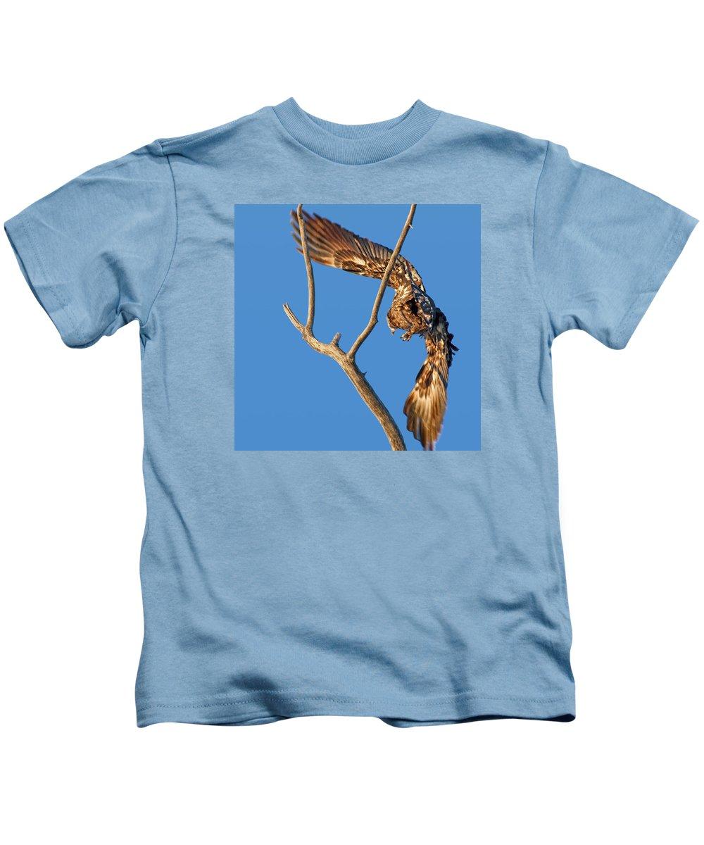 Juvenile Bald Eagle Kids T-Shirt featuring the photograph Taking Flight - Immature Bald Eagle by Nikolyn McDonald