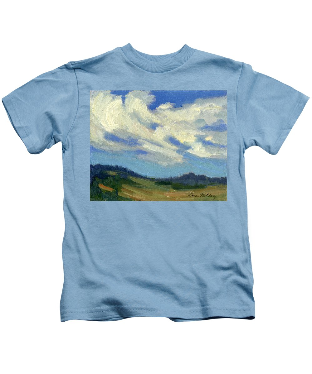 Clouds Kids T-Shirt featuring the painting Teanaway Passing Clouds by Diane McClary