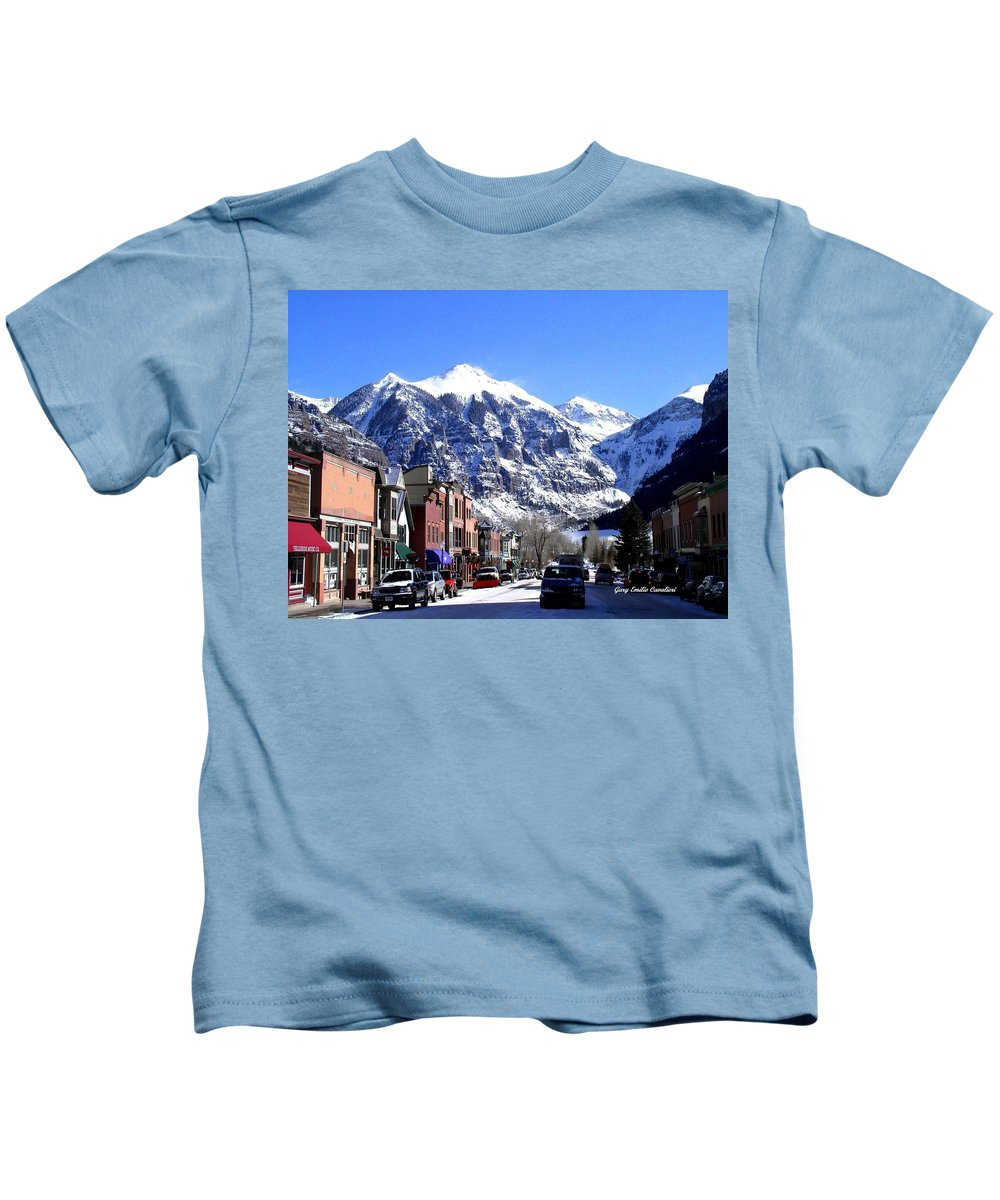 Mountains Kids T-Shirt featuring the photograph Telluride Colorado by Gary Emilio Cavalieri