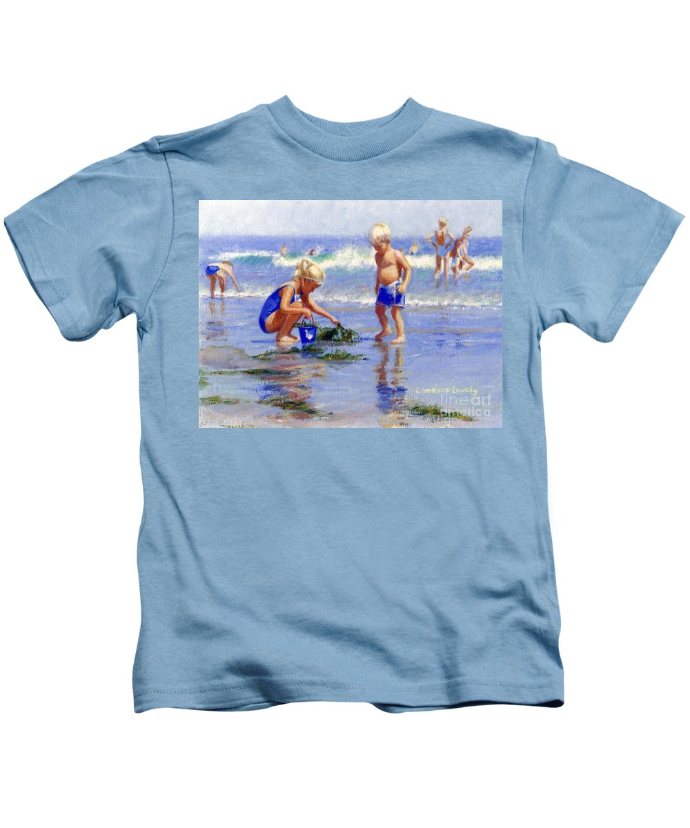 Kids Kids T-Shirt featuring the painting The Beach Pail by Candace Lovely